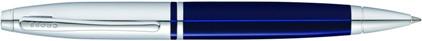 Stylo bille Calais laque bleue attributs chromés de Cross, cliquez pour plus de d�tails sur ce stylo...