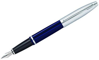 Stylo plume Calais laque bleue attributs chromés de Cross - photo.