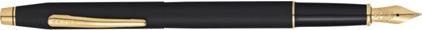 Stylo plume Century Classic noir satiné attributs plaqués or nouvelle version de Cross, cliquez pour plus de d�tails sur ce stylo...