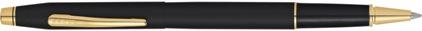 Roller Century Classic noir satiné attributs plaqués or nouvelle version de Cross, cliquez pour plus de détails sur ce stylo...