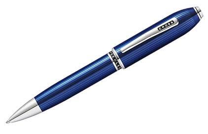 Stylo bille Peerless laque gravée bleue de Cross - photo.