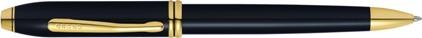 Stylo bille Townsend laqué noir plaqué or de Cross, cliquez pour plus de détails sur ce stylo...