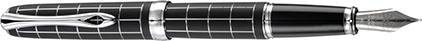 Stylo Plume Excellence A+ Rhomb guilloché lapis noir chrome de Diplomat