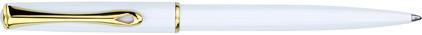 Stylo bille Traveller laqué blanc attributs dorés de Diplomat, cliquez pour plus de d�tails sur ce stylo...