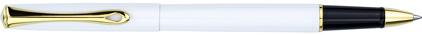 Roller Traveller laqué blanc attributs dorés de Diplomat, cliquez pour plus de d�tails sur ce stylo...