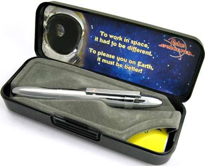 Stylo bille Space Pen Bullet de Fisher chromé avec clip - SF 1003 - photo.