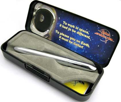 Stylo bille Space Pen Bullet de Fisher chromé sans clip - SF 1079 - photo.