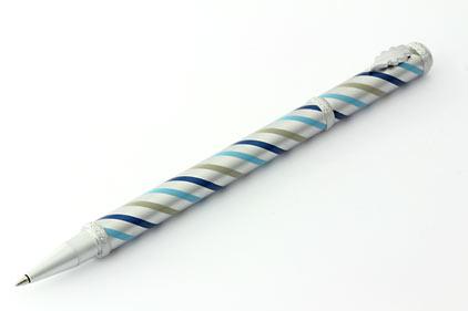 Roller satiné tourbillons bleus Candy de « Inès de la Fressange » - photo.