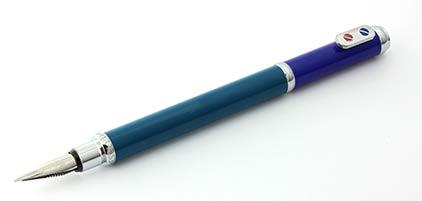 Stylo plume Bleu Sarcelle et Bleu Roi chromé SN 134013A Premier de Inès de la Fressange  - photo.