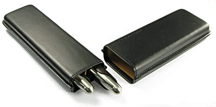 Etui-fourreau P'3190 en cuir noir pour 2 stylos Porsche Design - photo 2