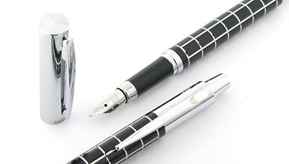 Parure stylo plume/stylo bille Swing noire attributs chromés de Vuarnet - photo 2