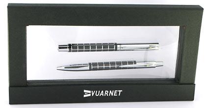 Parure stylo plume/stylo bille Swing noire attributs chromés de Vuarnet - photo 4