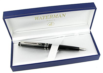 Stylo bille Expert laqué noir attributs chromés de Waterman - photo 4