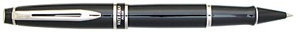 Roller Expert laqué noir attributs chromés de Waterman, cliquez pour plus de détails sur ce stylo...