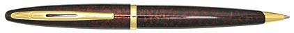 Stylo bille Carène Ambre Marine attributs plaqués or de Waterman, cliquez pour plus de détails sur ce stylo...
